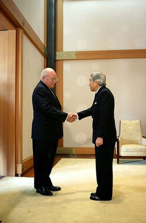 Cheney meeting the Japanese Emperor