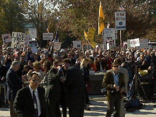 Crowd view from the steps of the Capitol